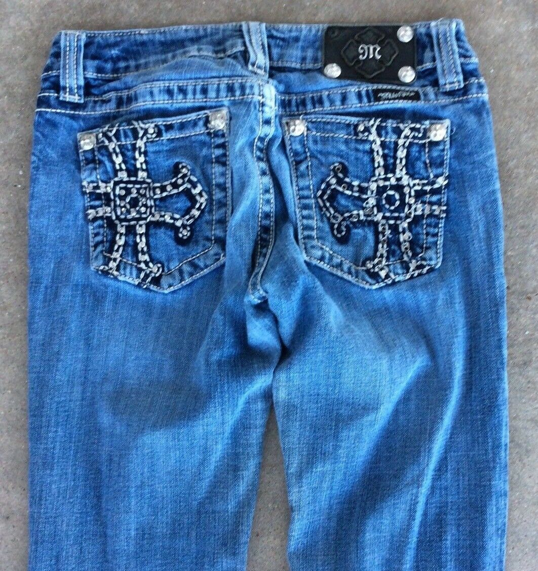 MISS ME DISTRESSED BOOT CUT JEANS 27 x   33