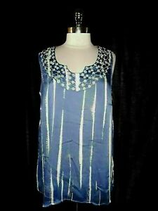 AVENUE Plus Size 2X 18 20 Blouse Shirt Top Blue White Embroidery Sleeveless