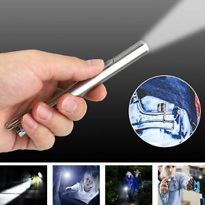 """5"""" LED USB Rechargeable Mini Tactical Flashlight Stainless Steel Torch Pen Light"""
