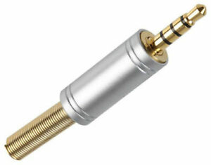 """GOLD REPLACEMENT 3.5mm 1//8/"""" AUDIO VIDEO JACK PLUG CONNECTOR TRRS 4 PIN WAY POLE"""