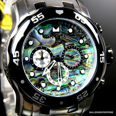 Mens Invicta Pro Diver Scuba Blue Green Abalone Chronograph Steel Band Watch New