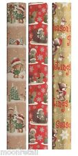 15M Luxury Christmas Wrapping Paper Roll Cute Xmas Teddy Bear Gift Wrap WCBB