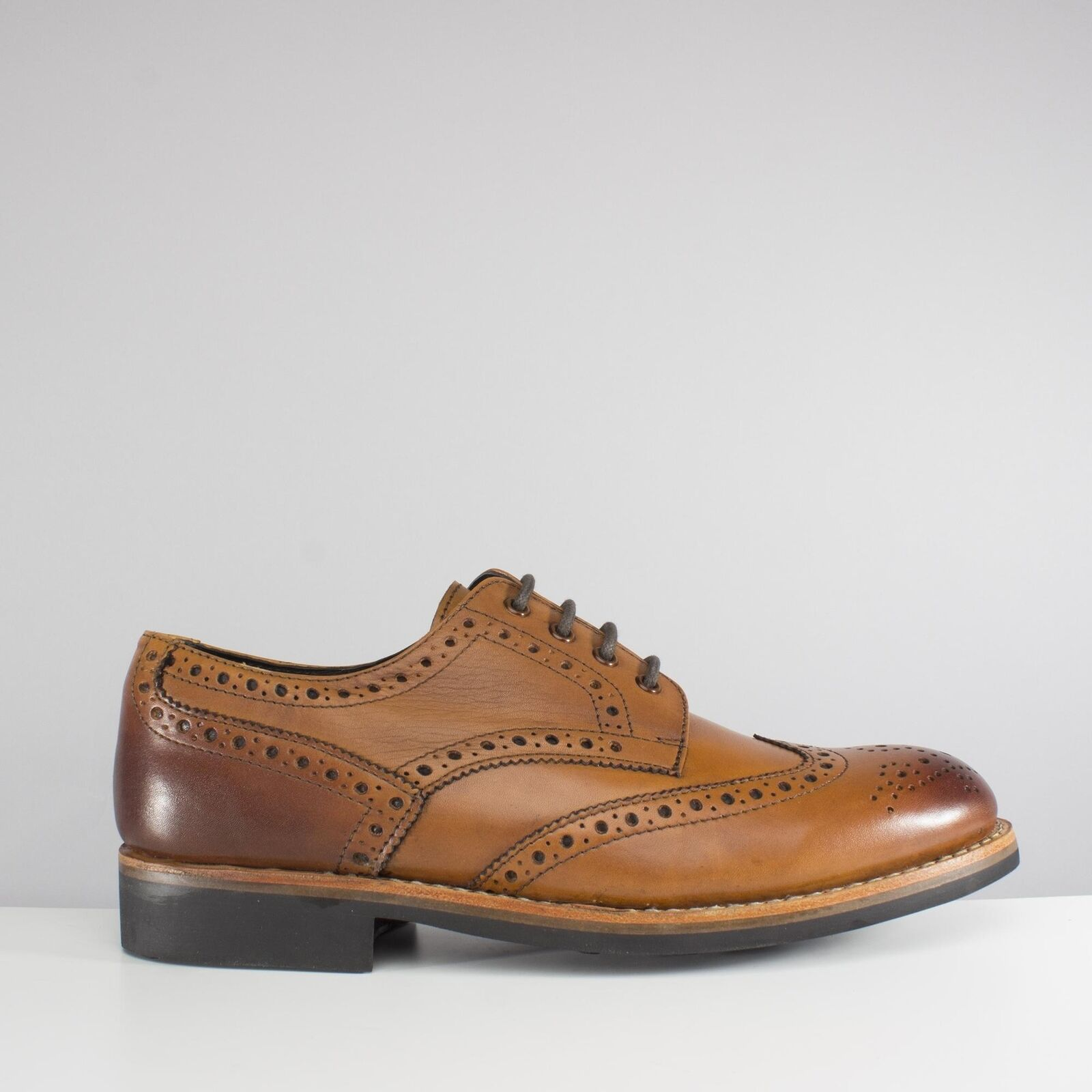 Catesby shoesmakers EDVIN Mens Formal Office Smart Lace Up Derby Brogue shoes Tan