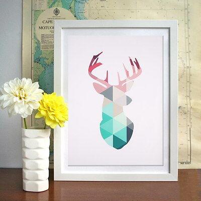 Geometric Coral Deer Canvas Prints Wall Sticker Art Poster Unframed Home Decor