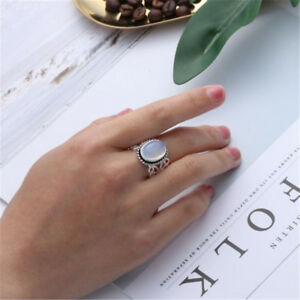 Jewelry-Women-Rainbow-Moonstone-Ring-Oval-Sterling-Silver-Natural-Gemstone-H7