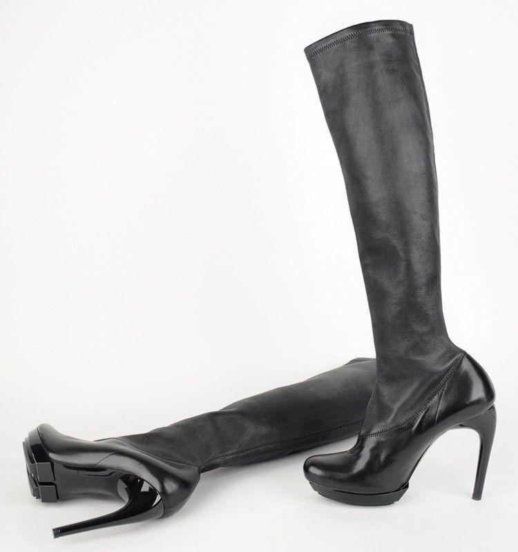 1,295 1,295 1,295 Negro Balenciaga la rodilla botas altas de cuero elástico 38 (US 7)  forma única