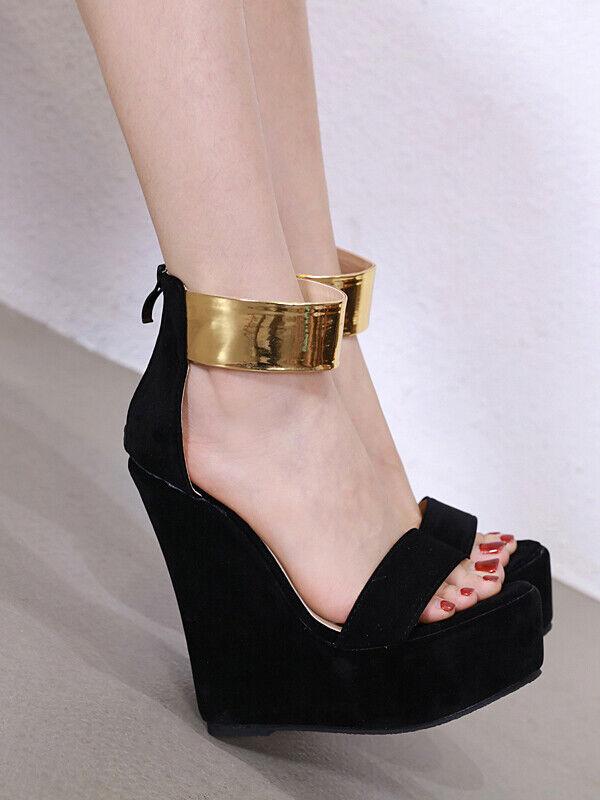 Sandali ciabatte negro oro pelle sintetica alto zeppa 15 cm mare comodi CW225