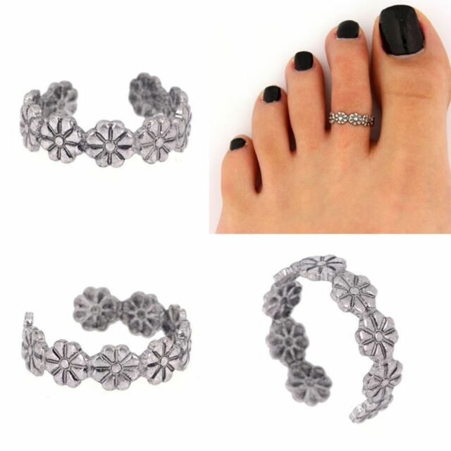 Daisy Flower Vintage Women Small Retro Toe Joint Ring Foot Jewelry Adjustable