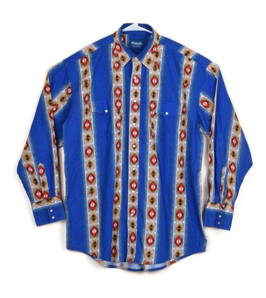 Wrangler Men Vtg bluee Western Cowboy Aztec Stripe Pearl Snap Button Up Shirt 2XL