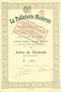 RARO-La-Pelleterie-Moderne-SA-accion-Bruxelles-1923-Emision-100