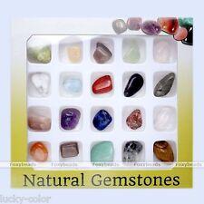20pcs Reiki Healing Chakra Semi-Precious Gemstone Polished Rock Beads Box Set