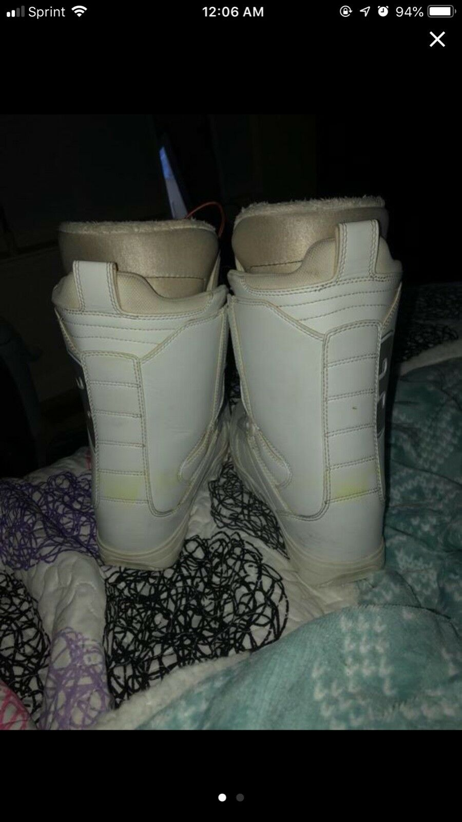 Ride snowboard, Lamar bindings, Thirty two boots. Board is white bluee.