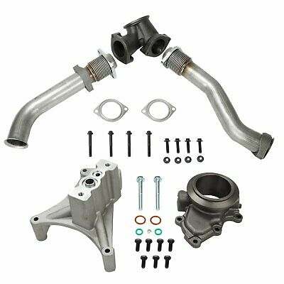 yjracing Turbo Pedestal Exhaust Housing Up Pipes /& Gaskets Fit for 99.5-03 Ford 7.3L Powerstroke Diesel
