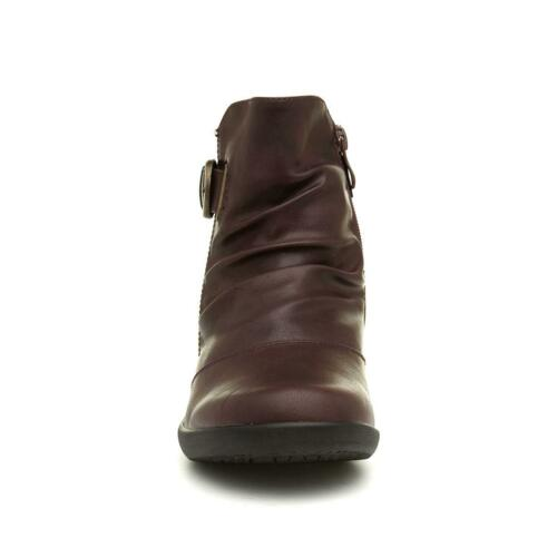Cushion Walk Belinda Womens Wine Ankle Boots with Buckles Size UK 3,4,5,6,7,8
