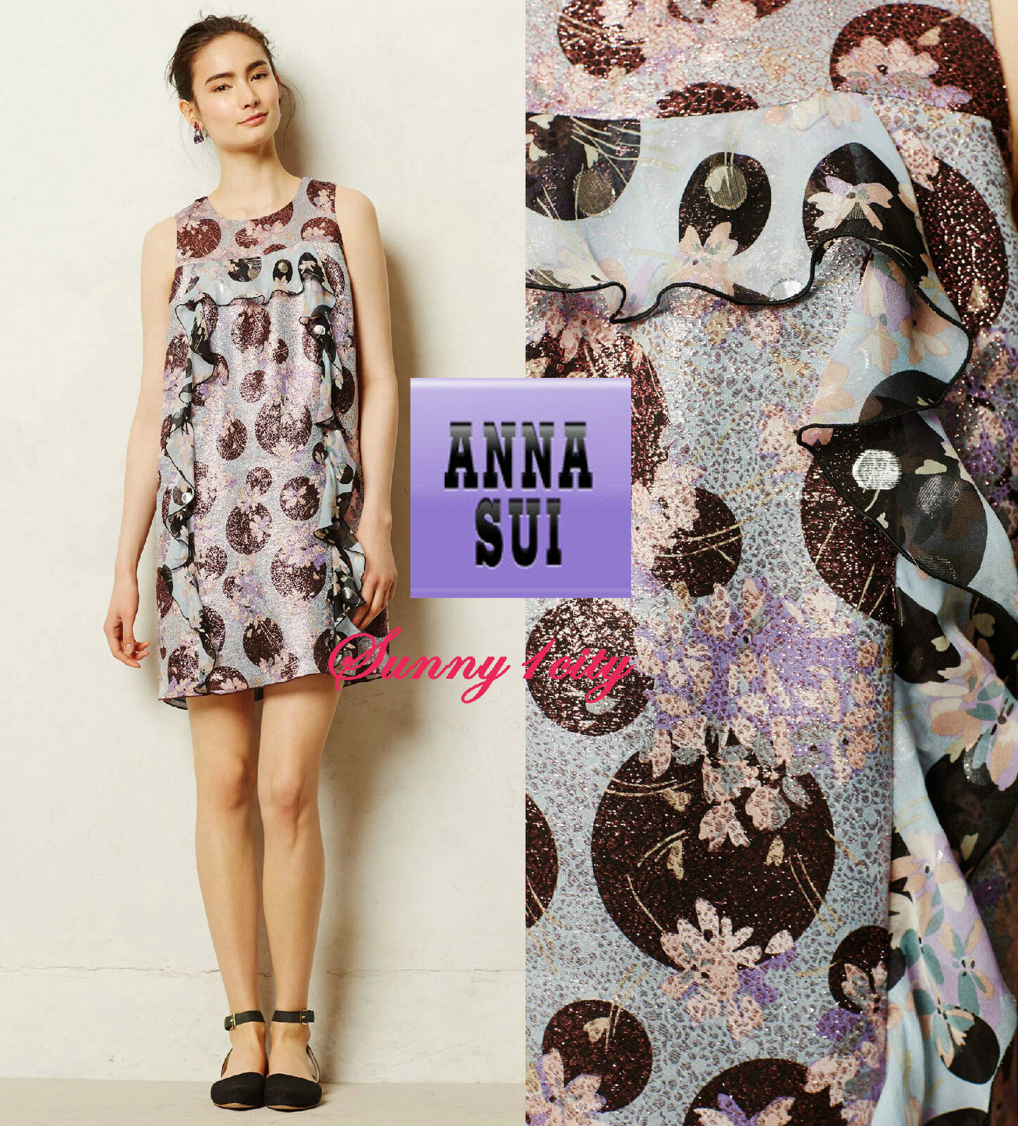 NEW 6 8 Anthropologie Cyprium Jacquard Shift By Anna Sui USA Stunning Femme