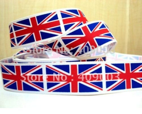 "1m UK UNION JACK BRITISH FLAG RIBBON 3"" 75mm BOW CAKE BOARD RIBBON"
