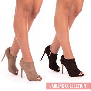 8bd87c914bb0 Ladies Peep toe Ankle Boots Womens Stiletto Heels Peep Toe Zip Sexy ...
