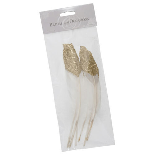 4x Feathers Half Glitter-Dipped 6 Pieces 20cm Gold Sewing Craft Tool UK