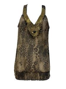 arden b beaded cheetah sheer V Neck blouse Women's Size S