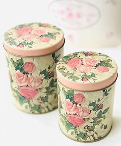 Details zu 2er Set Vorratsdosen Blechdosen Rosen