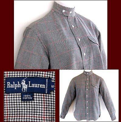 Ralph Lauren Blue Label shirt 6 Pure cotton Checks Black White Red Western Plaid