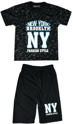 Boys T-Shirt /& Shorts Set 2 Piece New York Outfit Ages 1-8 Years Kids Clothes