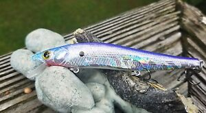 CUSTOM-PAINTED-MEGABIG-BASS-HOLOGRAPHIC-JERK-BAIT-FISHING-LURE-SILVER-REAL-SHAD