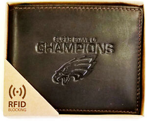 Philadelphia-Eagles-Super-Bowl-Champions-Wallet-RFID-Dark-Brown-LEATHER-BillFold