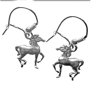 2,90g top or0131 Sterling plata 27mm Aretes-caballos 925er reales