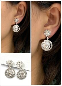 Silver-Diamante-Drop-Dangle-Clip-On-Earrings-Crystal-Bridal-Non-Pierced-Party-UK