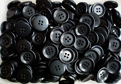 W547 Large 20mm 32L Black Polished 4 Hole Buttons Button Craft Coat Jacket