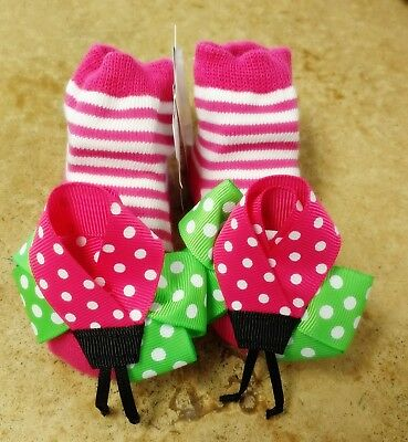 New Baby Girl Socks Mud Pie Cotton Blend 0-12 Months Pink Lollipop Clothes Gift