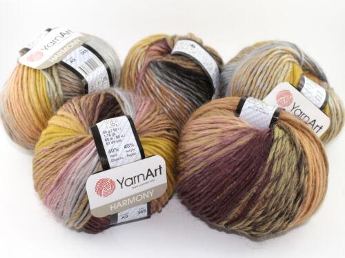 50g 50g Weiche Wolle mit Farbverlauf HARMONY von YarnArt 60/% Wolle 80m