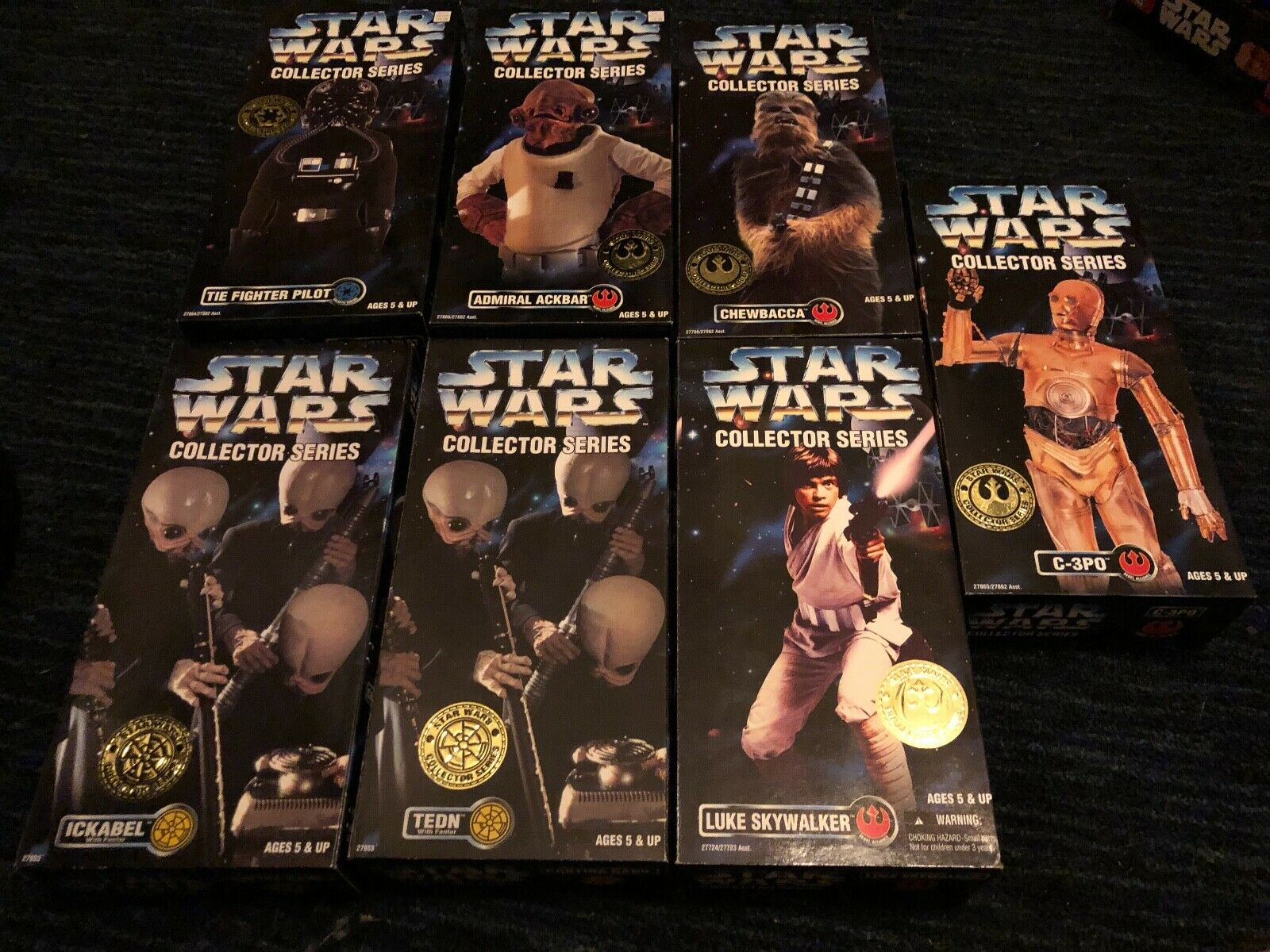 LOT OF 7 STAR WARS COLLECTOR SERIES 1996 ACTION FIGURES, CHEWBACCA, C-3PO, NEW