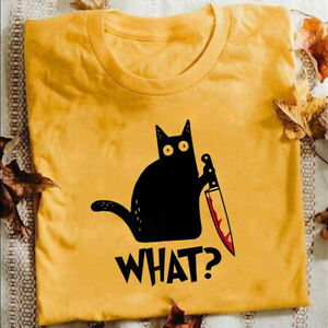 Cat-What-T-Shirt-Murderous-Cat-With-Knife-Funny-Halloween-Gift-T-Shirt-Unisex