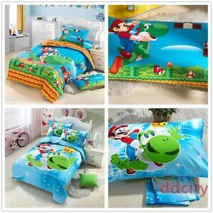 Super-Mario-Bros-Yoshi-Mario-Bedding-Set-Duvet-Cover-Fitted-Sheet-Set-Cotton