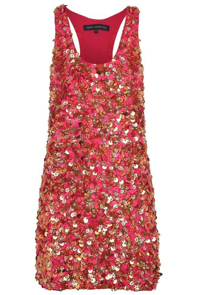 French Connection Heavy Sequin FEMME Party Dress Größe 8  RARE RRP