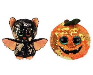 """2019 Halloween TY 6/"""" Flippables SEEDS Pumpkin Beanie Boos Sequins Plush MWMTs"""