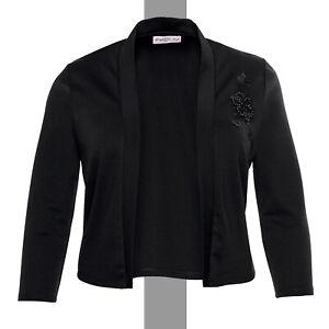elegant Abend Jersey Bolero Gr.48/50 schwarz Jäckchen Jacke Applikation Stretch