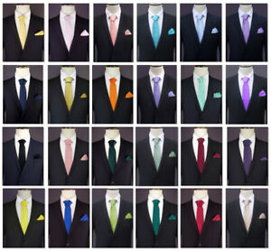 TIE-POCKET-SQUARE-SET-handkerchief-hanky-necktie-men-039-s-mens-CHOOSE-COLOUR