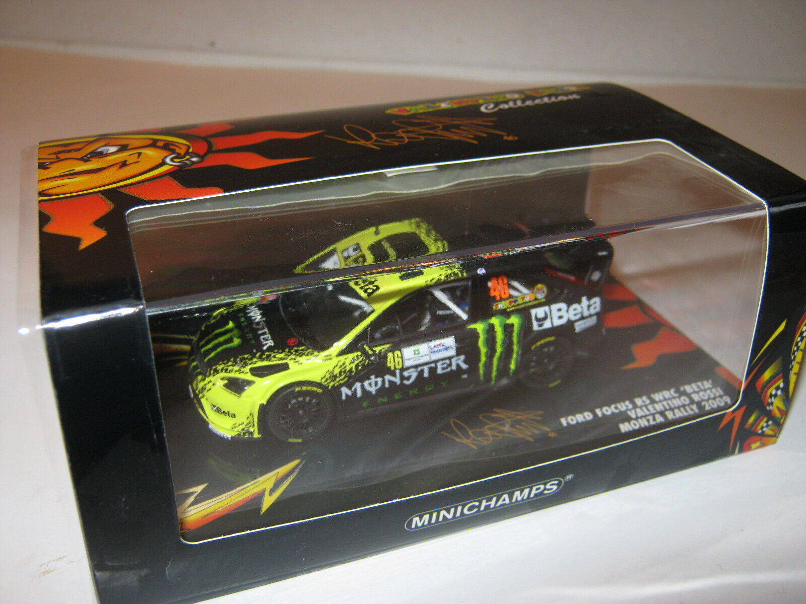 1 43 FORD FOCUS RS WRC V. Rossi Monza Rally 2009 Minichamps le 400098946 NEW