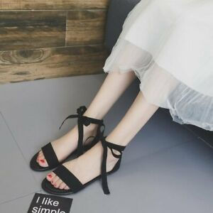 Women-039-s-Ankle-Strap-Sandals-Open-Toe-Lace-Up-Summer-Flats-Strappy-Casual-Shoes