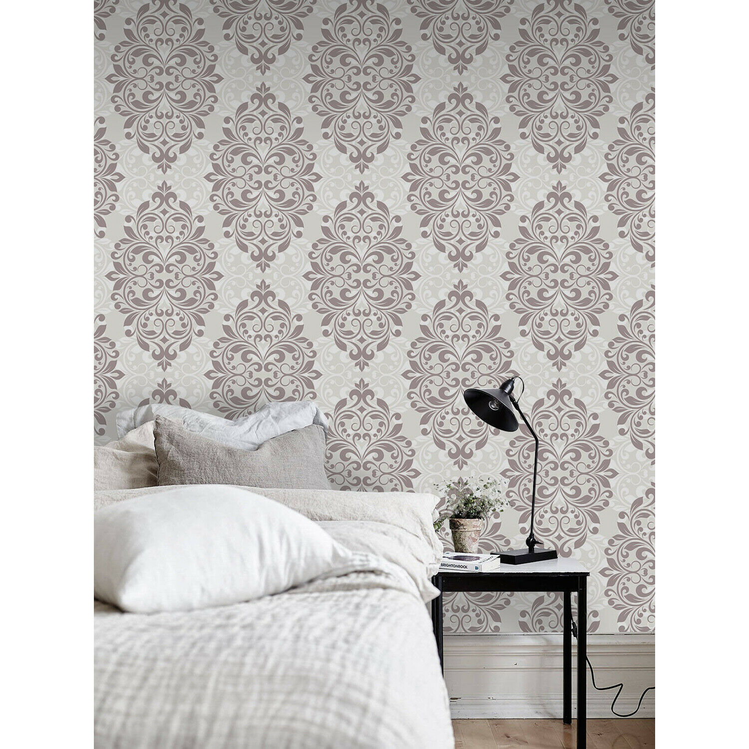 Damask Design Removable Wallpaper Brown And White Wall Mural