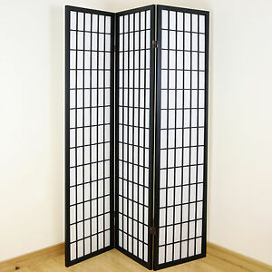 Black White 3 Panel Shoji Folding Privacy ScreenJapanese Wooden