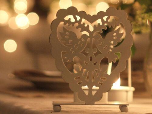 FILIGREE WHITE DOVE HEART TEA LIGHT HOLDER CHIC WEDDING   SCANDI VINTAGEEASTER