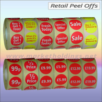 35mm Round Promotional Sales Label Discount Retail Peel Off 500Stickers Per Roll