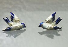 Vintage sterling silver blue and white enamel bird pirced post earrings