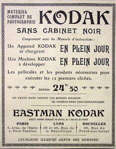 PUBLICITE-DE-PRESSE-1904-APPAREILS-KODAK-SANS-CABINET-NOIR-EN-PLEIN-JOUR