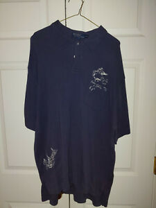 Men Ralph Lauren Polo Navy Blue Sailfish Fishing Golf Shirt Size XXL