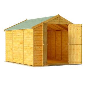 Details About 10x8 Overlap Garden Wooden Shed Windowless Double Door Apex Roof Felt 10ft 8ft